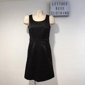 H&M black satin fitted sheath dress formal 6 belt